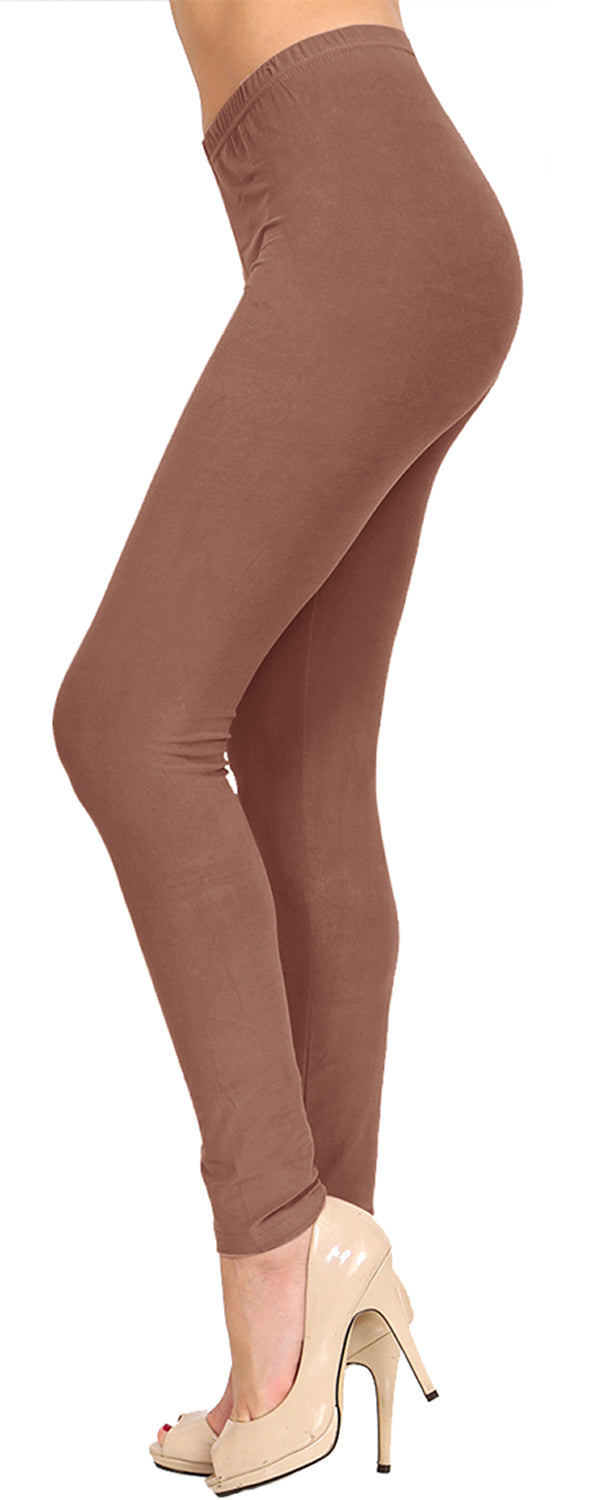 Solid Brushed Leggings  VP103-Mocha (Full Length/Capri)