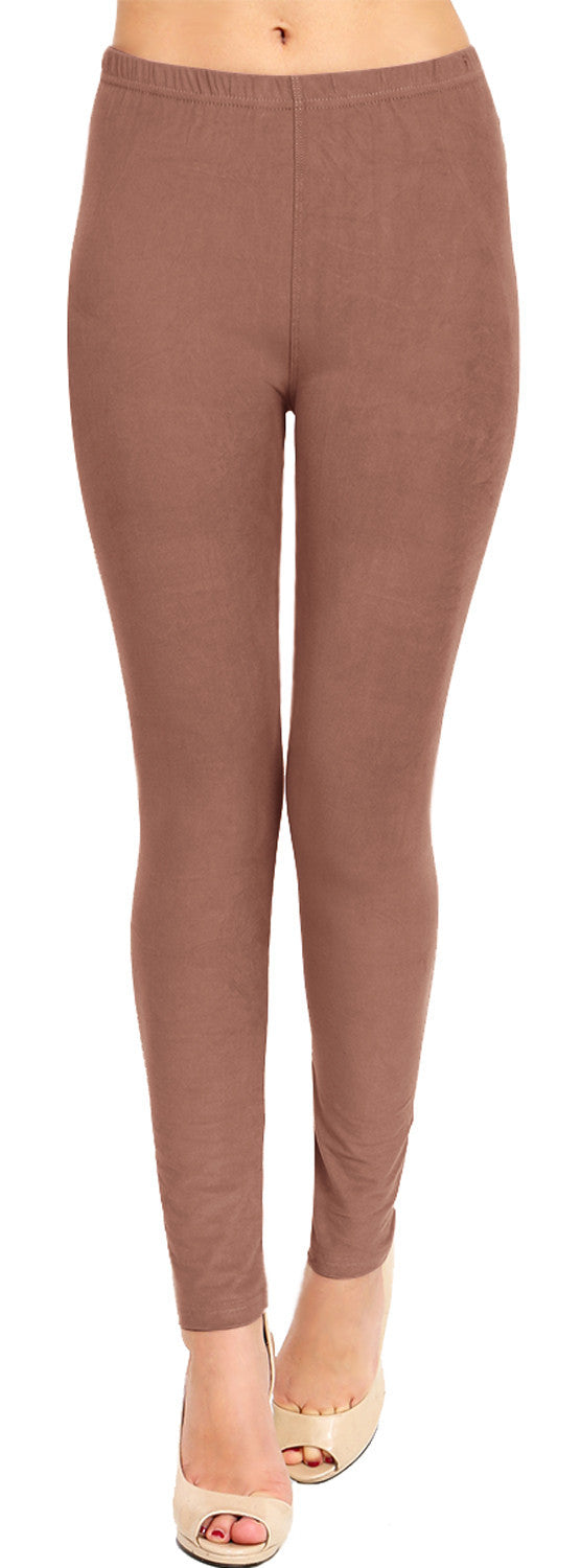 Solid Brushed Leggings  VP103-Mocha - VIV Collection