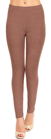 Solid Brushed Leggings  VP103-Dark Brown