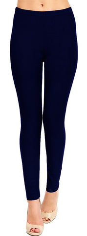 Solid Brushed Leggings  VP103-Dark Brown (Full Length)