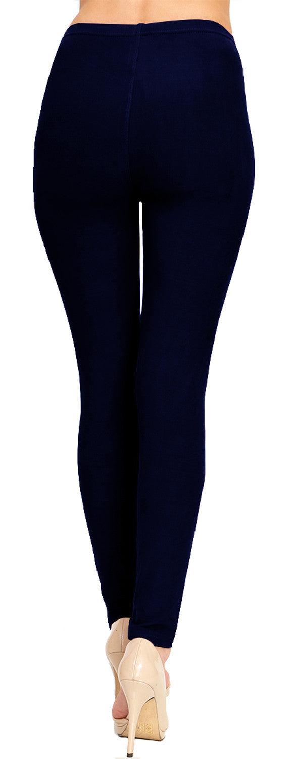 Solid Brushed Leggings  VP103-Navy - VIV Collection