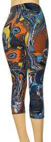 Printed Capris Leggings - Water Phoenix