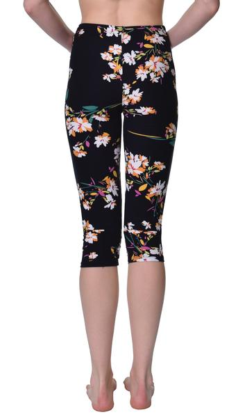 Printed Capris Leggings - Lily Black