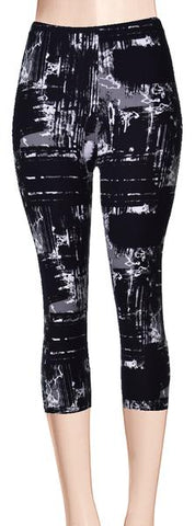 Printed Capris Leggings - Gray Army Camouflage