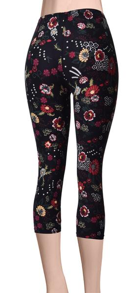 Printed Capris Leggings - Flower Dusk