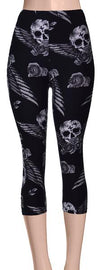 Printed Capris Leggings - Roaming Skulls