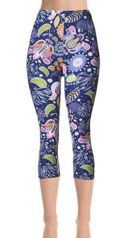 Printed Capris Leggings - Cracked
