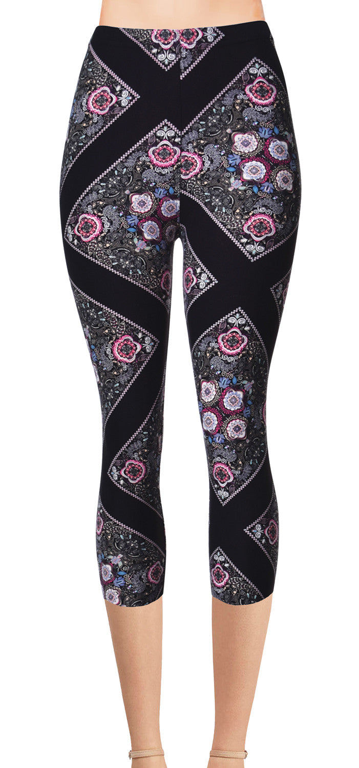 Printed Brushed Leggings - Floral Pathway