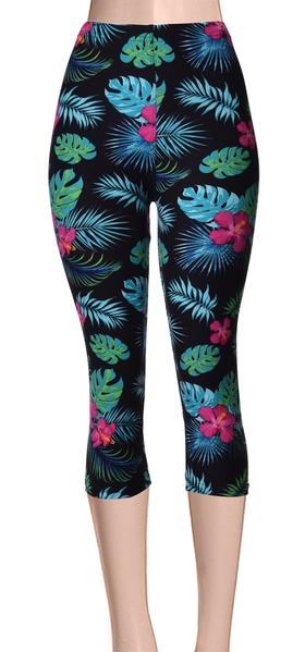 Printed Capris Leggings - Tropical Floral