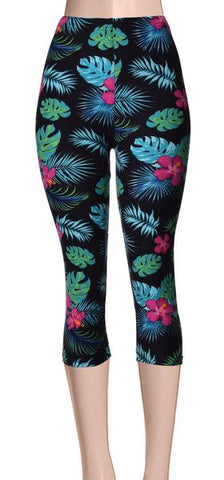 Printed Capris Leggings - Chevron Triangle