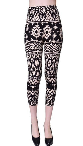 Printed Capris Leggings - Pattern Diamonds