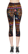 Printed Capris Leggings - Elephant Celebration