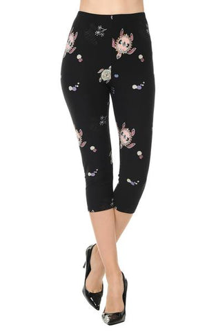 Printed Capris Leggings - Roaming Turtles