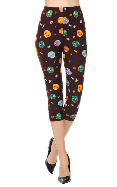 Printed Capris Leggings - Cartoonic Skulls