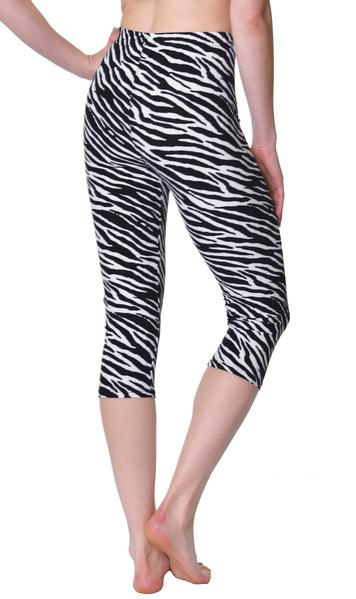 Printed Capris Leggings - Zebra Animal