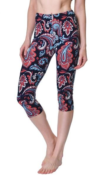 Printed Capris Leggings - Dragon Tail Paisley
