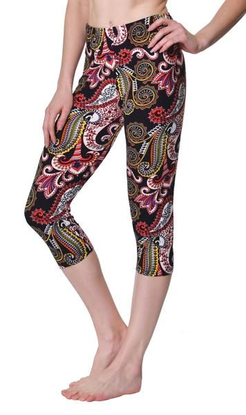 Printed Capris Leggings - Paisley Party