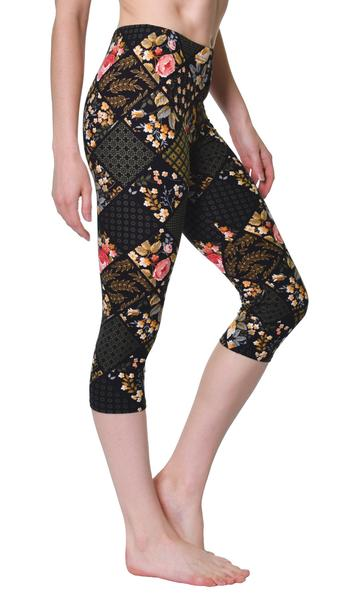 Printed Capris Leggings - Flowers n' Boxes