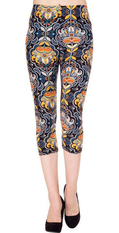 Printed Capris Leggings - Paisley Tree