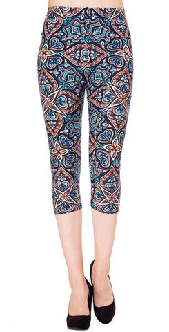 Printed Capris Leggings - Paisley Love