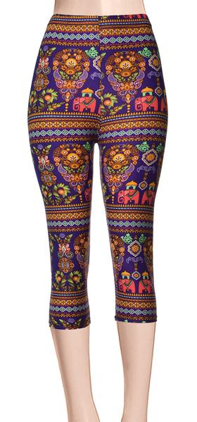 Printed Capris Leggings - Celebration
