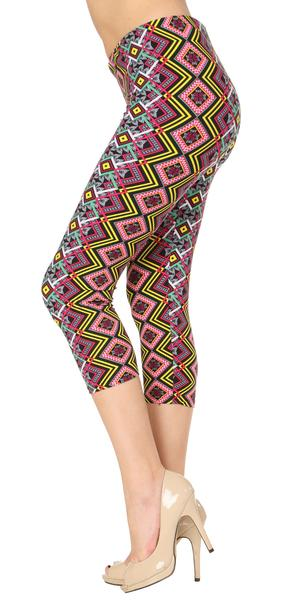 Printed Capris Leggings - Diamond Illusion