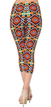 Printed Capris Leggings - Heat Blast