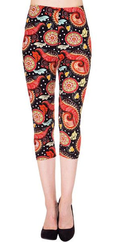 Seasonal Printed Fur-Lined Leggings for Fall/Winter - Santa Claus