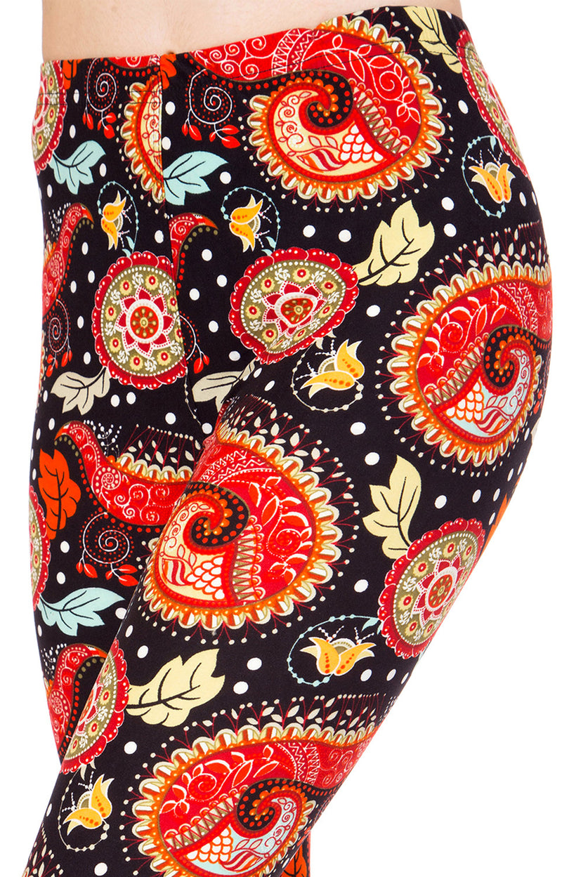 Printed Brushed Leggings - Furious Paisley