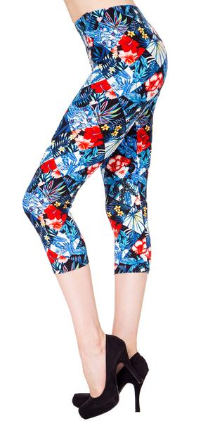 Printed Capris Leggings - Freezing Bloom
