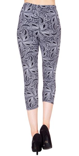 Printed Capris Leggings - Whirly Paisley