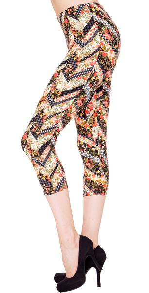 Printed Capris Leggings - Fresh Blossoming