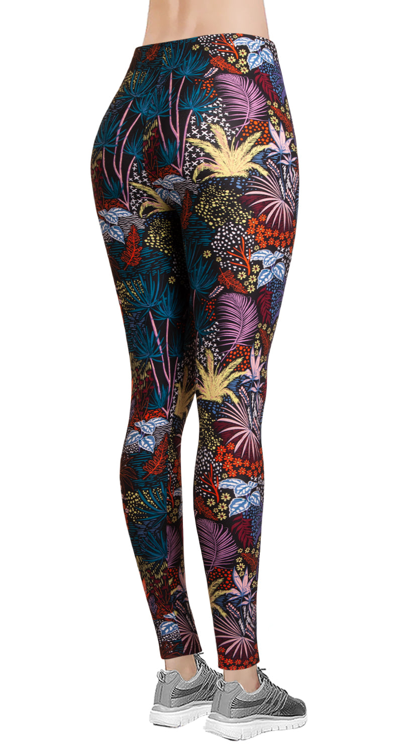 Printed Brushed Leggings - Midnight Jungle V2