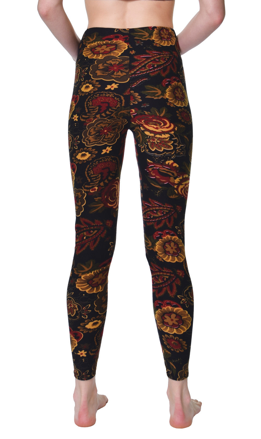 Printed Brushed Leggings - Bronze Olive Floral - VIV Collection