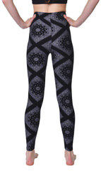 Printed Brushed Leggings - Black White Paisley Diamond - VIV Collection