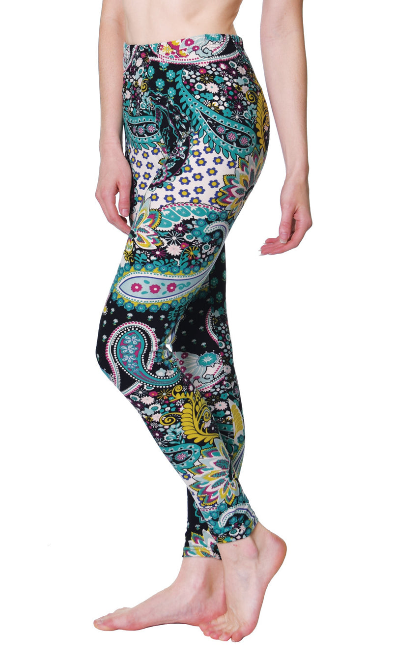 Printed Brushed Leggings - Rainforest Paisley - VIV Collection
