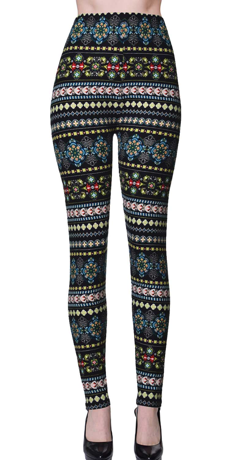 Printed Brushed Leggings - Pristine Patterns