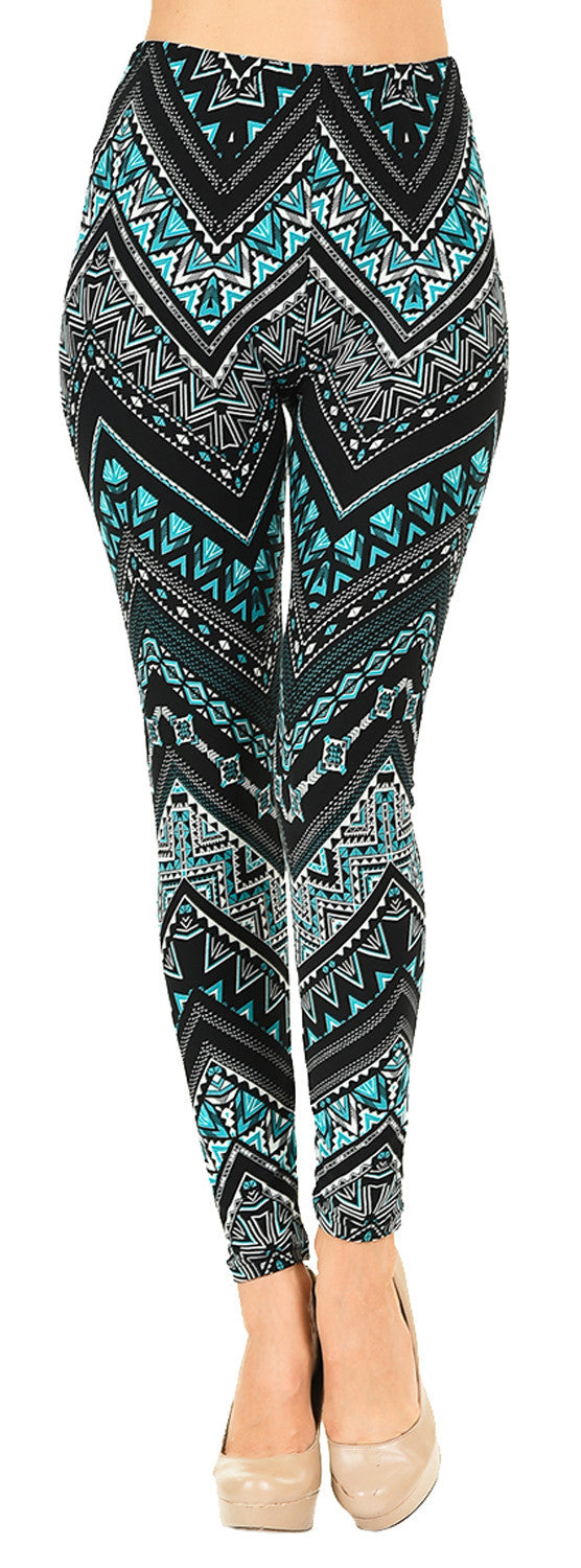 Printed Brushed Leggings - Chevron Triangle - VIV Collection