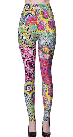 Printed Brushed Leggings - Seamless Floral