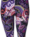 Printed Brushed Leggings - Purple White Dreamy Paisley