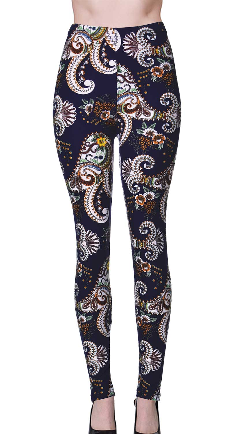 Printed Brushed Leggings - Floral White Paisley Tails