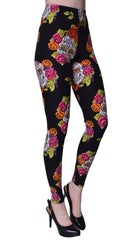 Printed Brushed Leggings - Immortal Sugar Skull Anniversary