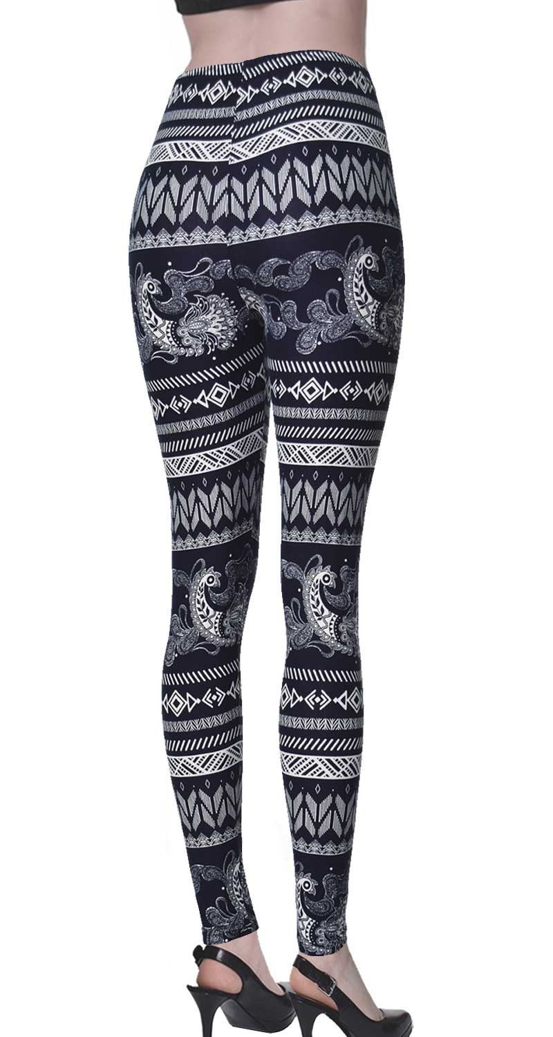 Printed Brushed Leggings - Paisley Rush