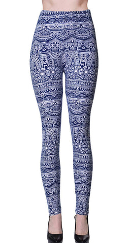 Printed Brushed Leggings - Shallow Atlantis