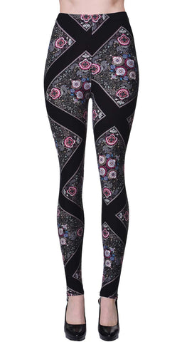 Printed Brushed Leggings - Snowflake Nighttime