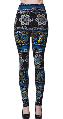Printed Brushed Leggings - Cartoonic Skulls