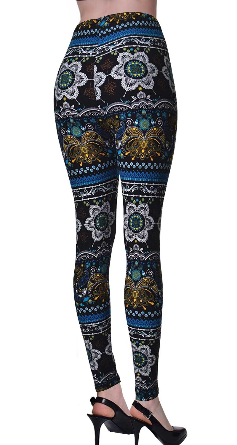 Printed Brushed Leggings - Sunflower Symmetry