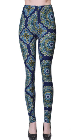 Printed Brushed Leggings - Lightning Blue