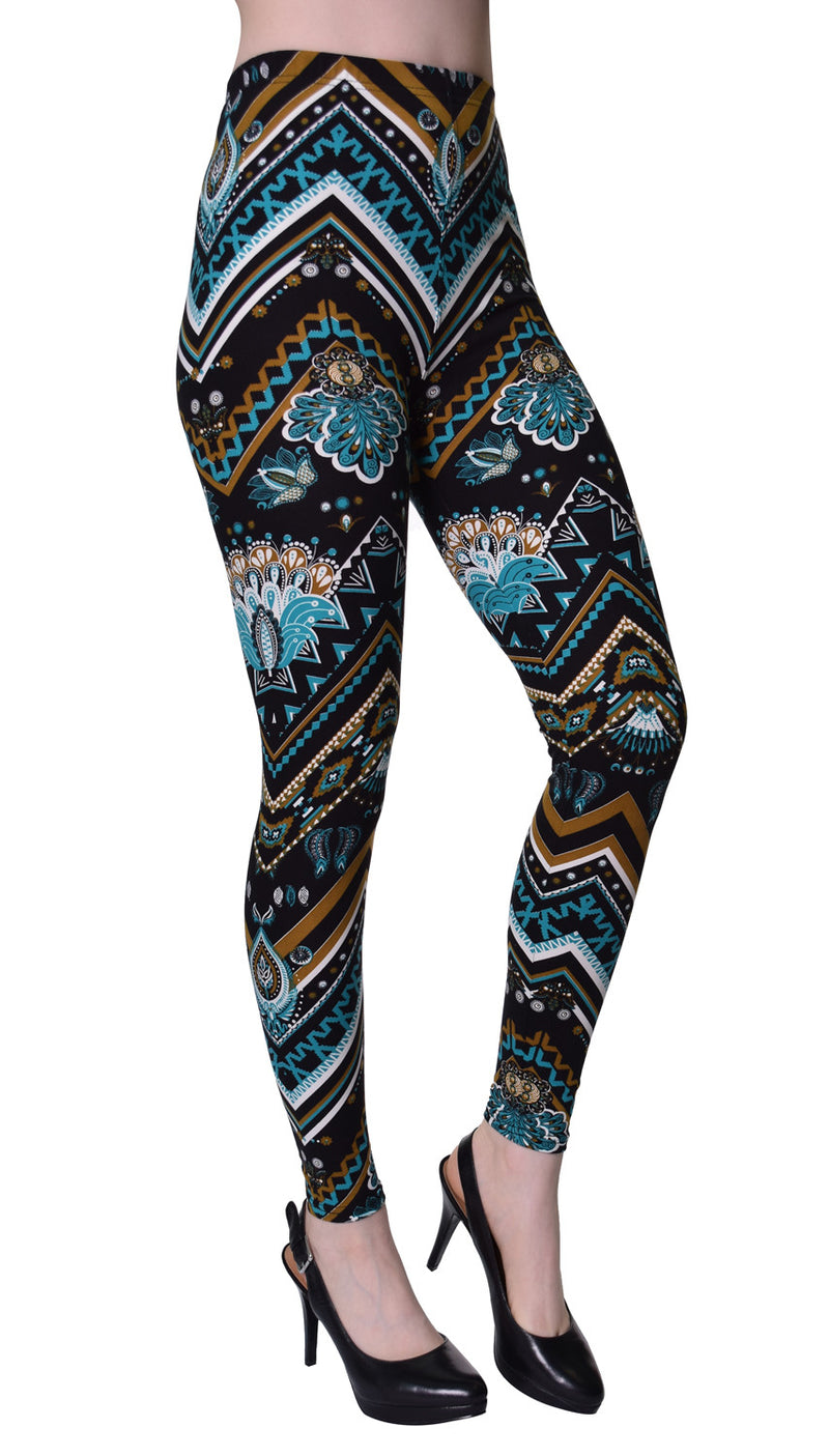 Printed Brushed Leggings - Chevron Astromite
