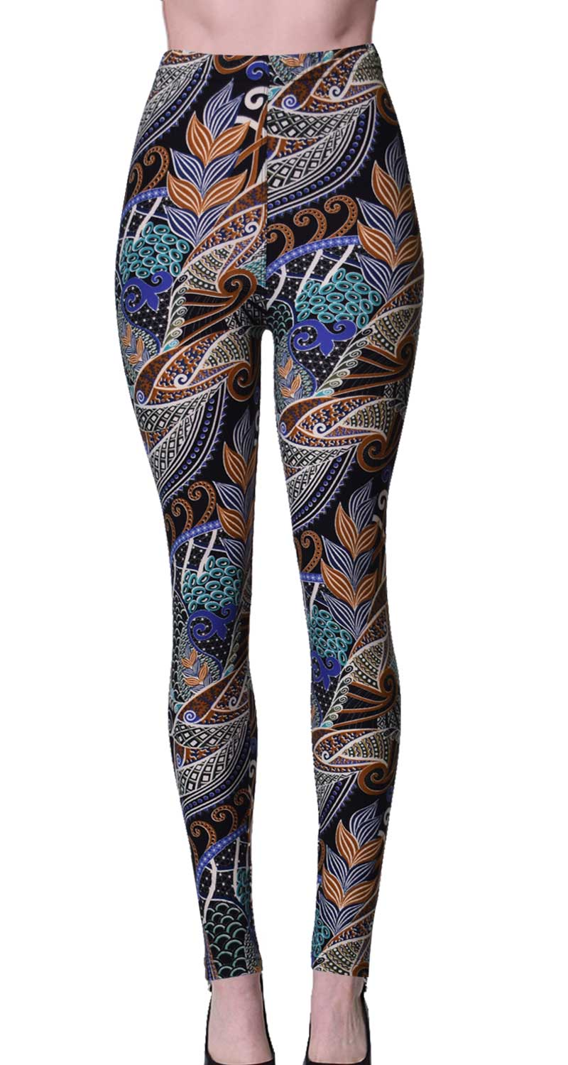 Printed Brushed Leggings - Harvesting